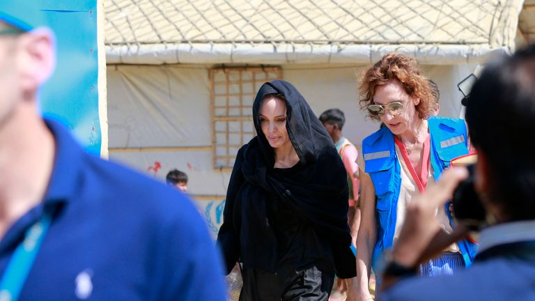 Angelina Jolie visits the Red Cross field hospital at Kutupalong refugee camp in Cox's Bazar, Bangladesh