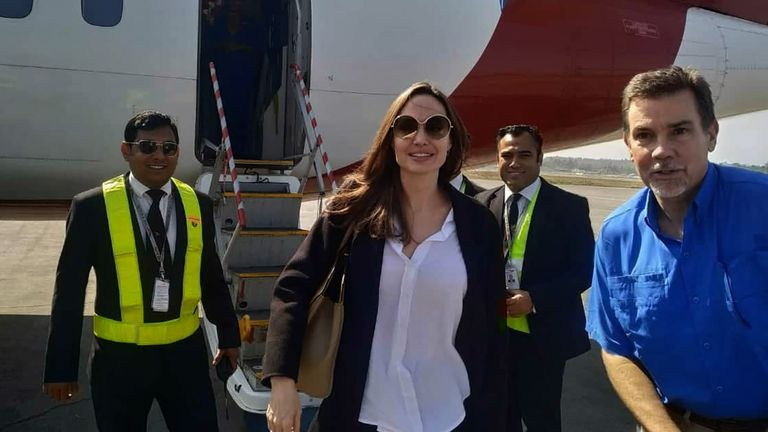 Angelina Jolie, a special envoy for the United Nations High Commissioner for Refugees (UNHCR), arrives at the airport in Cox's Bazar in southern Bangladesh
