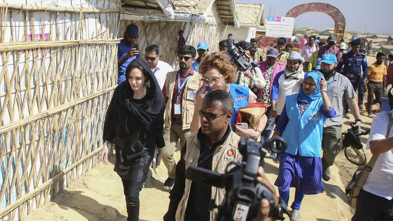 Angelina Jolie visits a school in the Kutupalong camp for Rohingya refugees in Ukhia in southern Bangladesh