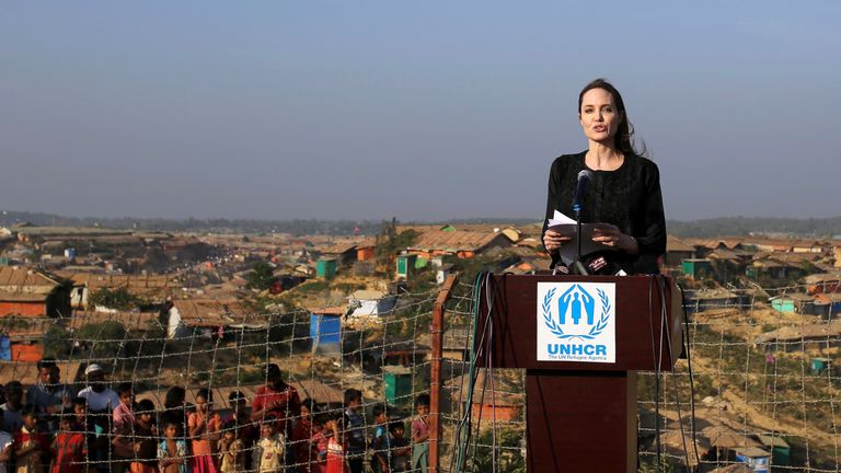 Actor Angelina Jolie joins in a press briefing as she visits Kutupalong refugee camp in Cox's Bazar, Bangladesh, February 5, 2018. REUTERS/Rehman Asad