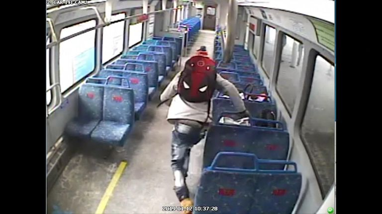 CCTV shows a man stepping off a train to smoke a cigarette and then chasing after it when it leaves with his baby on board.