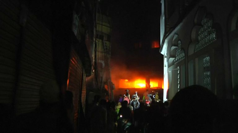 The  fire broke out in the Chawkbazar area of Old Dhaka
