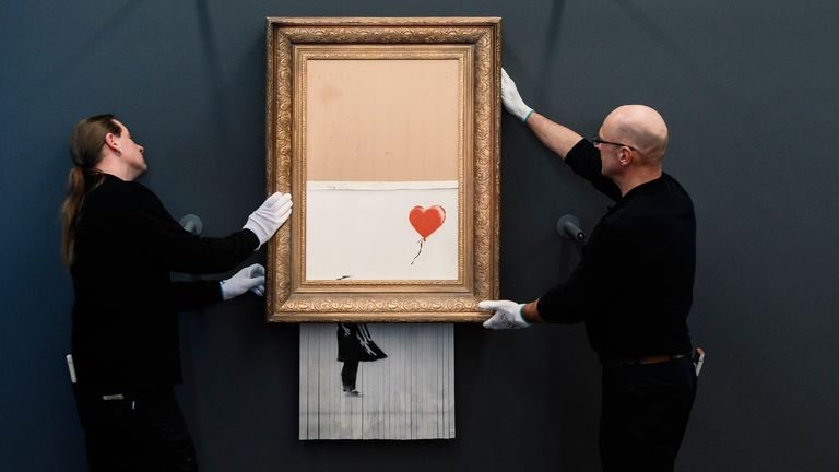 The notorious Banksy painting has been carefully installed at a museum in Germany