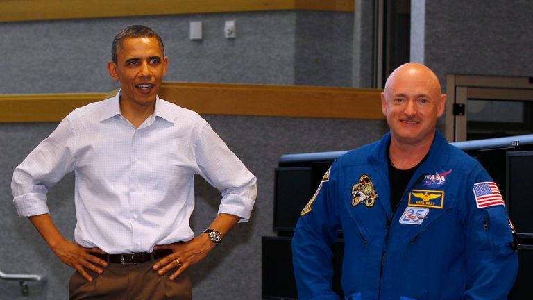 Barack Obama with Mark Kelly before he departed on the Endeavour