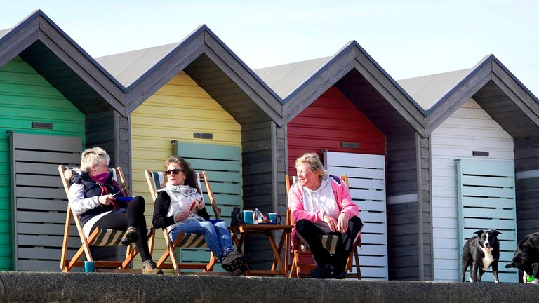 People enjoying the conditions in Blyth in Northumberland
