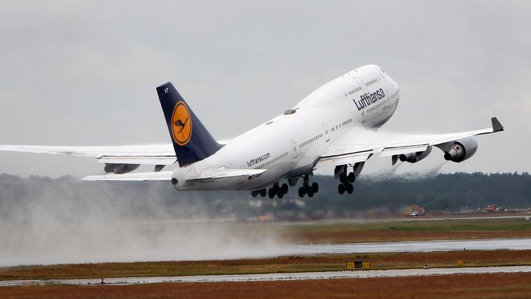 A German Lufthansa airline Boeing 747-400 is taking off from the airport in Frankfurt am Main, western Germany, on June 4, 2012.