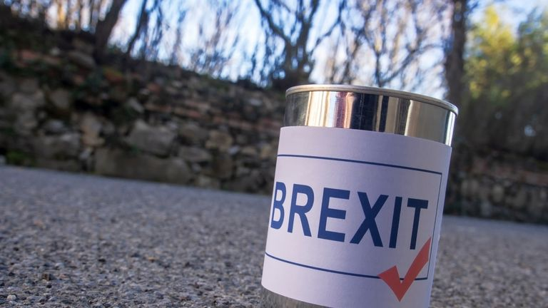 Brexit tin can in the road ready for a kick, a UK EU politics metaphor