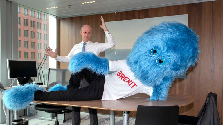 "Dutch FM Stef Blok has also tweeted a shot of the mascot lying on his desk with the warning ""Don't let Brexit get in your way"": Pic: Stef Blok"