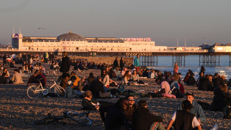 People enjoy sun on Brighton beach on 25 February