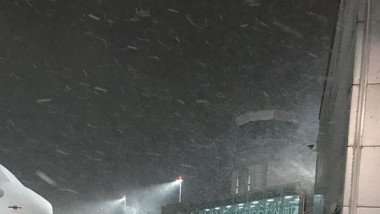 Bristol airport shared this photo of snowfall Friday morning