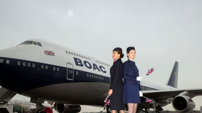 The livery, which features BOAC colours, has not been used for 40 years