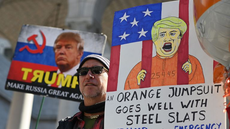 Protesters turned-out with colourful anti-Trump banners in California