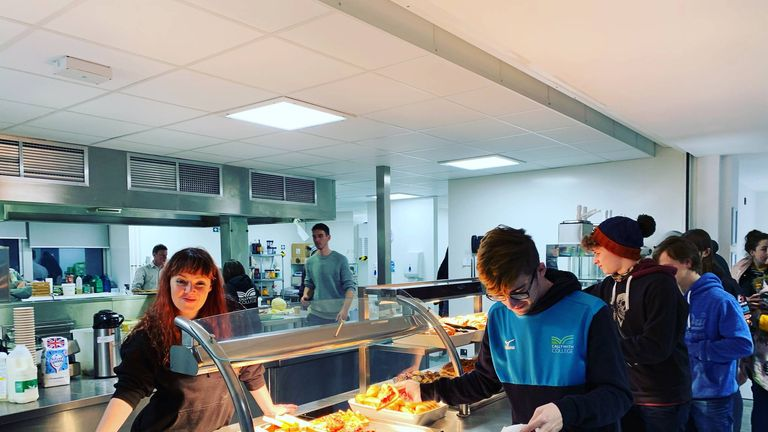 Staff served up cheese toasties for the stranded students. Pic: Callywith College