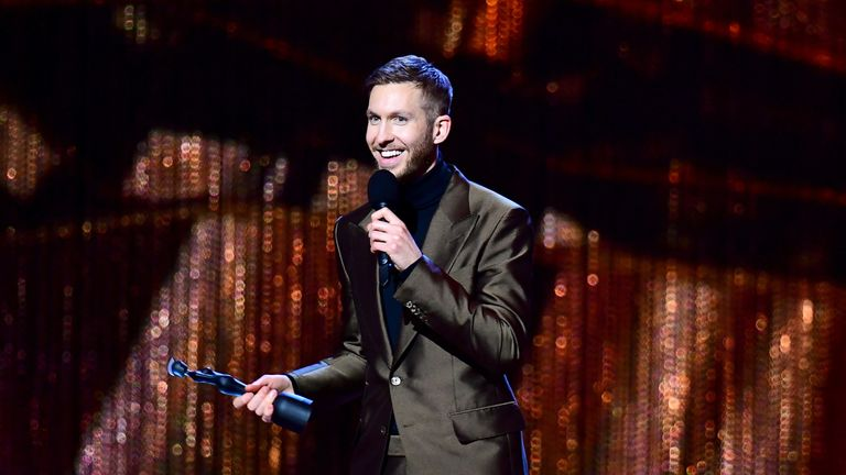 Calvin Harris picked up two awards at The 02 in London tonight