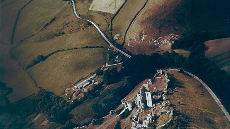 Corfe Castle, Dorset, taken on 7 August, 1947