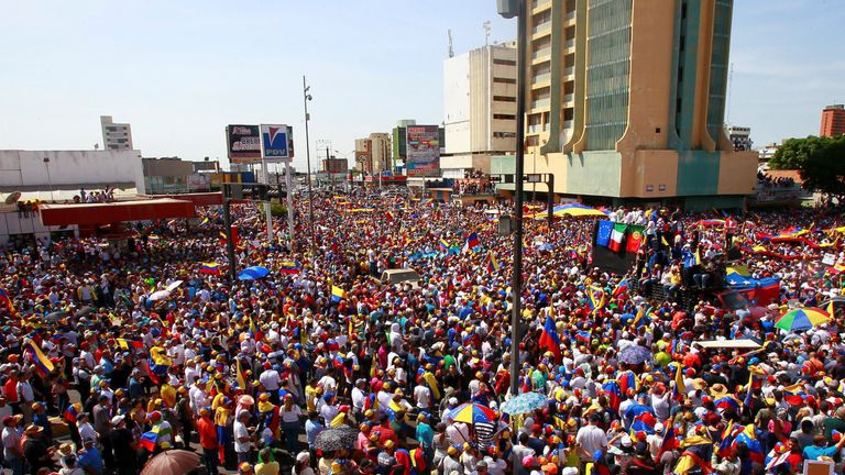 Hundreds of thousands of pro-opposition protesters flooded the streets o Caracas on Saturday
