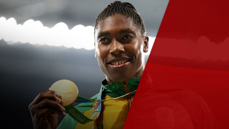 Caster Semenya with her gold medal from the Olympics in Rio De Janeiro in 2016