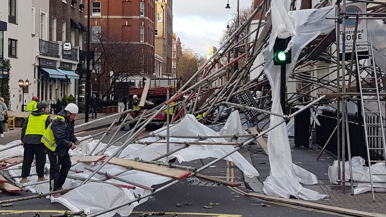 Wind blew down scaffolding in Chelsea, west London