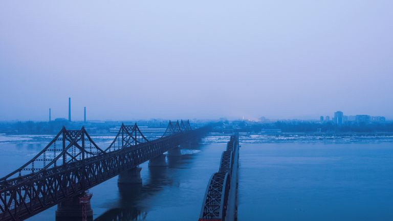 The Chinese border town of Dandong, opposite to the North Korean town of Sinuiju