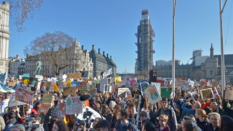 Students from the Youth Strike 4 Climate movement during a climate change protest on Parliament Square in Westminster
