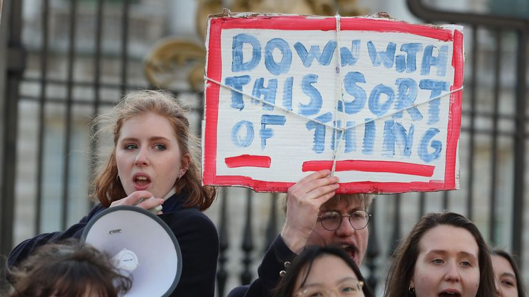 Pupils from Methodist College Belfast at a climate change protest outside Belfast City Hall
