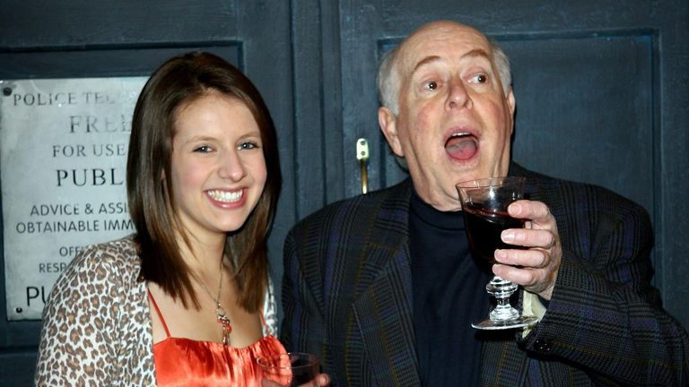 Clive Swift and guest arrive for the Gala Screening of the Doctor Who Christmas episode