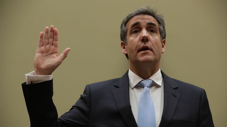 WASHINGTON, DC - FEBRUARY 27: Michael Cohen, former attorney and fixer for President Donald Trump is sworn in before testifying before the House Oversight Committee on Capitol Hill February 27, 2019 in Washington, DC. Last year Cohen was sentenced to three years in prison and ordered to pay a $50,000 fine for tax evasion, making false statements to a financial institution, unlawful excessive campaign contributions and lying to Congress as part of special counsel Robert Mueller's investigation in