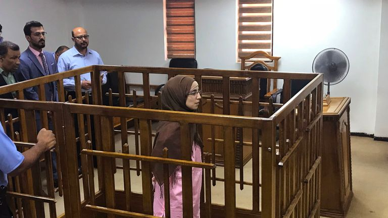 French jihadist Djamila Boutoutaou attends her trial at the Central penal Court in Baghdad