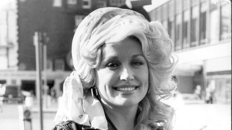 Dolly Parton pictured in the UK in 1977