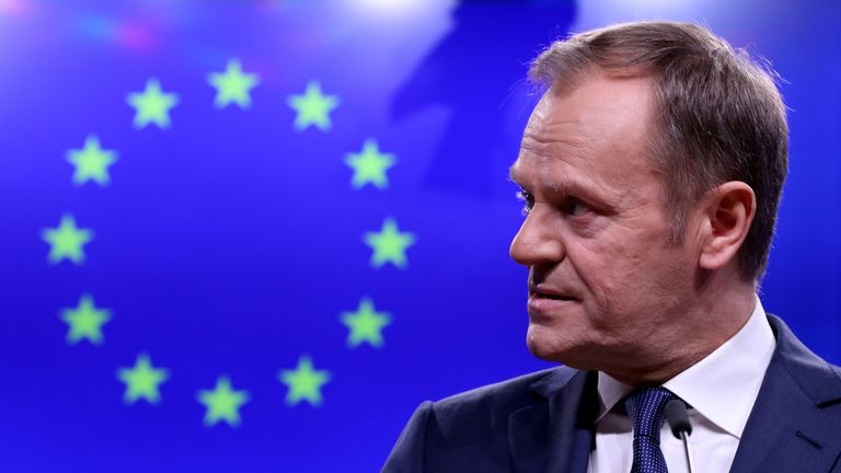 EU Council President Donald Tusk gives a statement after a meeting with Irish Prime Minister Leo Varadkar at the European Council headquarters in Brussels