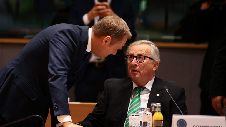 President of the European Council Donald Tusk (L) and President of the European Commission Jean-Claude Juncker