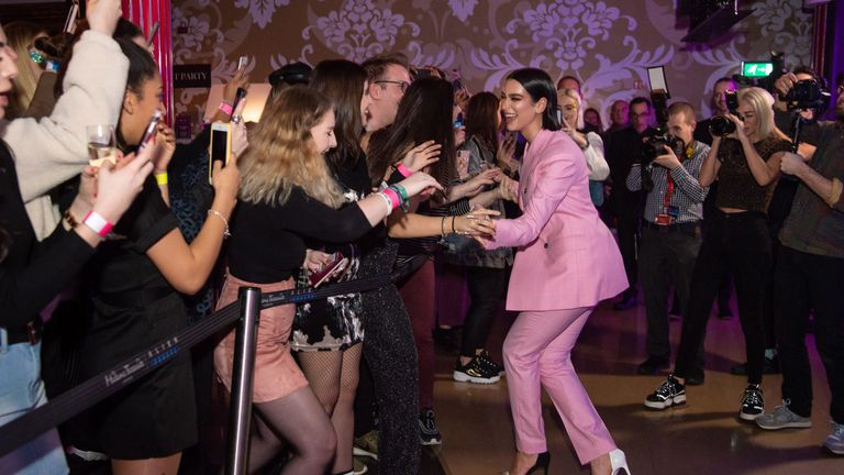 The pop star greeted fans at Madame Tussauds. Pic: INHOUSE Images/PA
