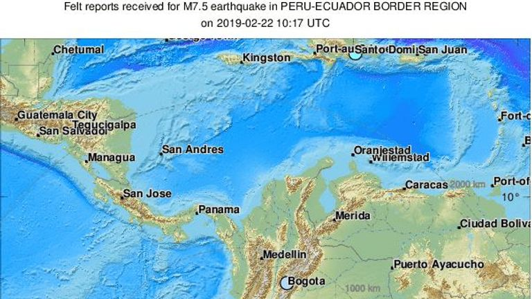 The 7.5 earthquake hit eastern Ecuador close to its border with Peru