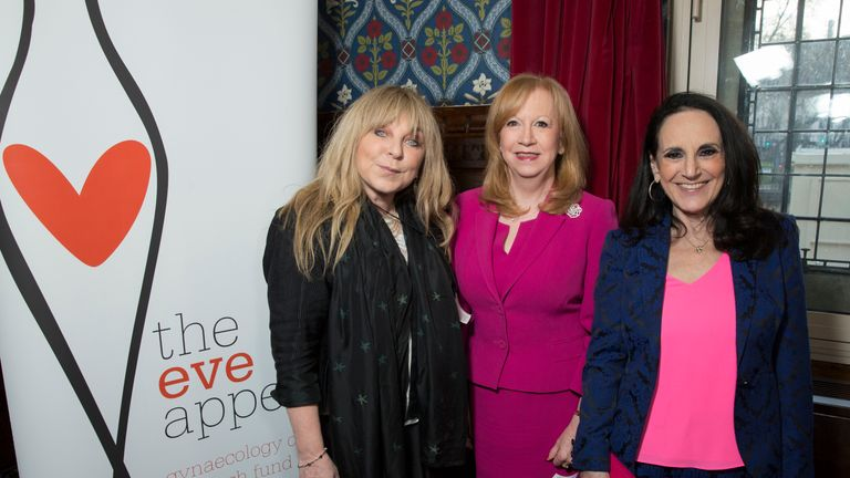 Helen Lederer, Eleanor Laing MP and Lesley Joseph attend The Eve Appeal afternoon tea party to mark the beginning of Ovarian Cancer Awareness Month