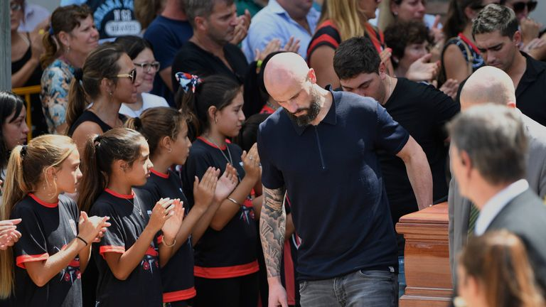 Mourners applauded as Emiliano Sala's coffin was taken to the hearse