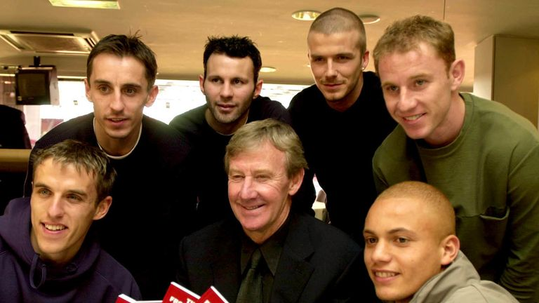 Eric Harrison (centre) with Manchester United players (from left) Gary Neville, Phil Neville, Ryan Giggs, David Beckham, Nicky Butt and Wes Brown
