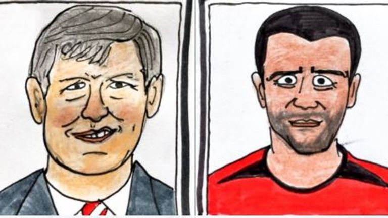 The couple's rendition of ex-Manchester United boss Alex Ferguson and star Roy Keane. Pic: Panini Cheapskates