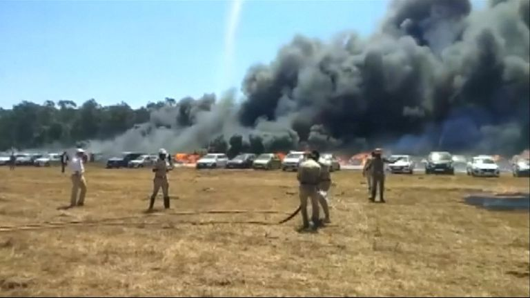 A fire at an airshow in India destroyed three hundred cars on Saturday (February 23), a senior fire official said, the latest accident to mar the government-run event