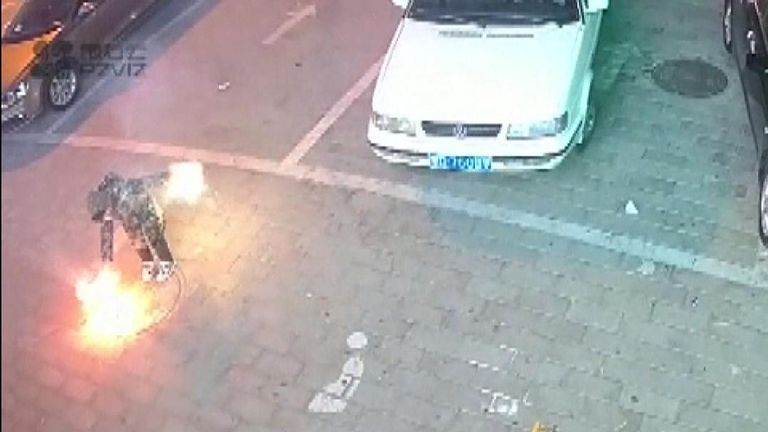 A boy, 8, was filmed inserting fireworks into a manhole vent, which resulted in a huge explosion due to trapped methane. The boy was unhurt.