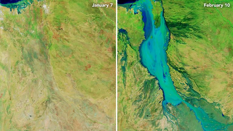 Satellite images show how the Flinders River has expanded Credit: Nasa Earth Observatory