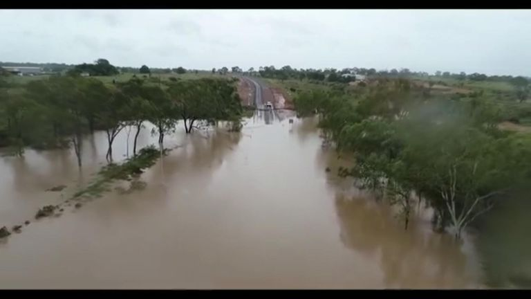 Drone footage captures devastating flooding