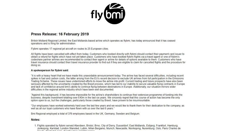 FlyBMI's website has been taken down and replaced by a statement