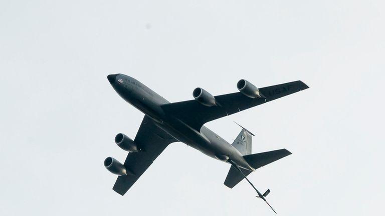 A KC-135 Stratotanker flies over Endcliffe Park in Sheffield