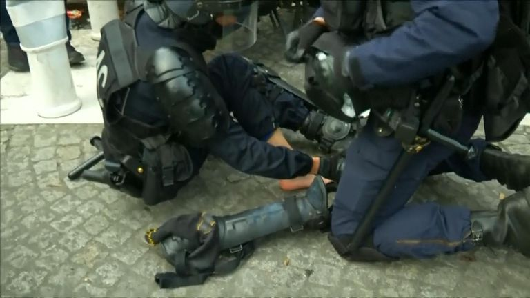 An officer is treated after hurting their foot