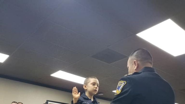 Abigail raised her right hand and took an oath as she was sworn in. Pic: Freeport Police Department