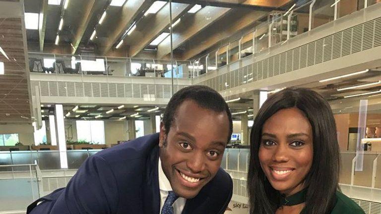 Sky News' Gamal Fahnbulleh with presenter Claudia-Liza Armah