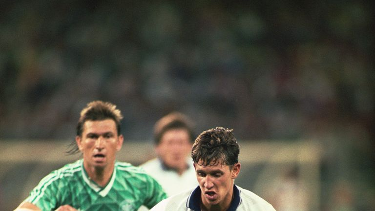 Gary Lineker plays against West Germany in the 1990 World Cup semi-final