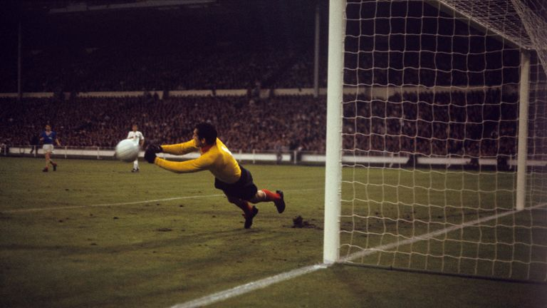 Soccer - FIFA World Cup England 1966 - Group One - England v France - Wembley Stadium England goal keeper Gordon Banks saves a shot