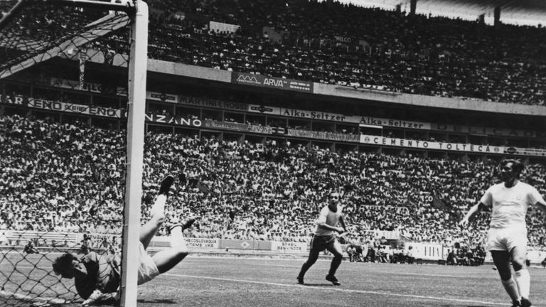 Gordon Banks makes a remarkable save from a header by Pele of Brazil during their first round match in the World Cup at Guadalajara, Mexico, June 1970