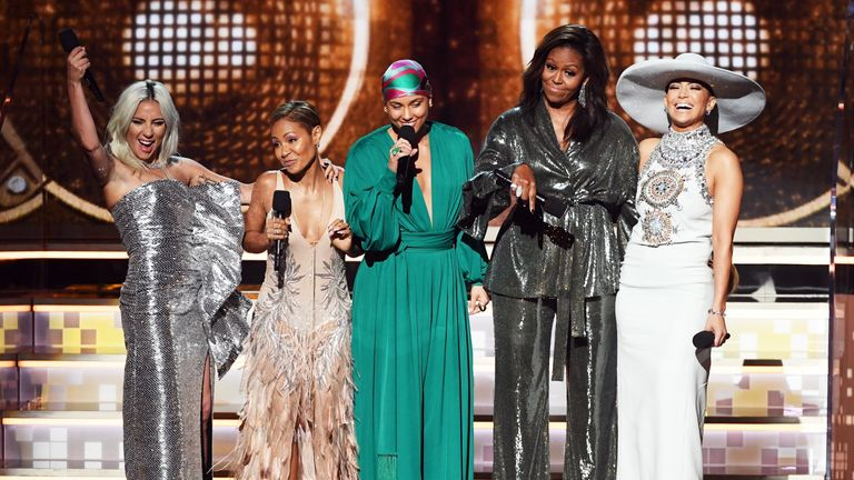(L-R) Lady Gaga, Jada Pinkett Smith, Alicia Keys, Michelle Obama, and Jennifer Lopez at the Grammys